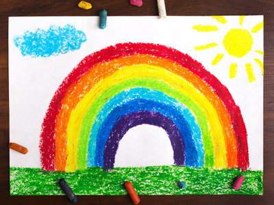 colorful drawing: a beautiful rainbow